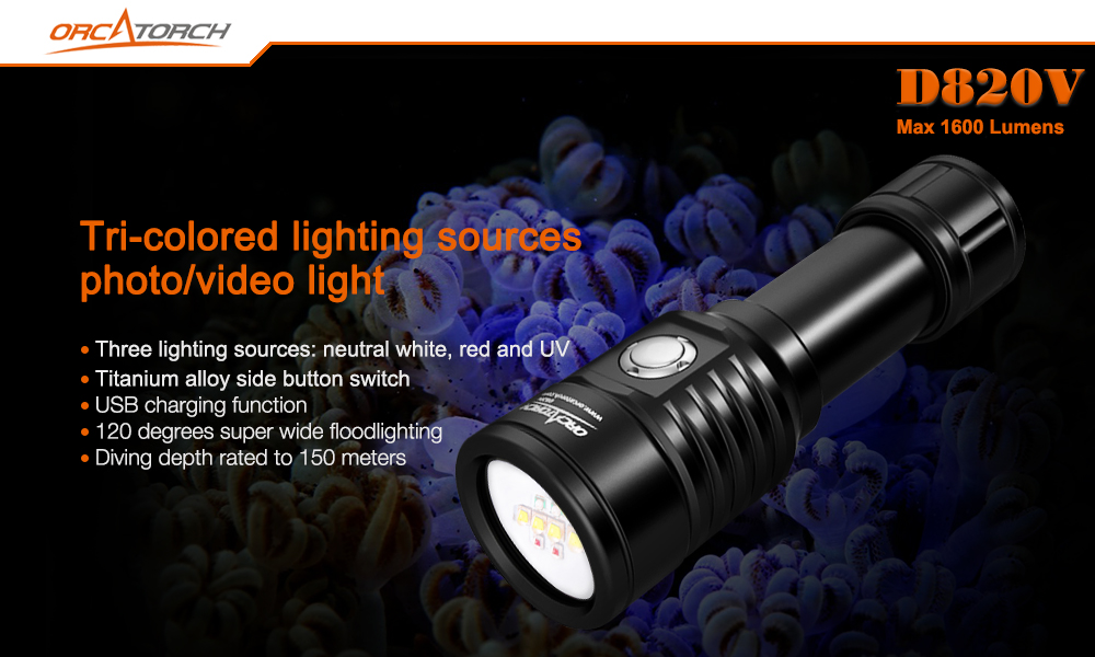OrcaTorch D820V Underwater Video Light 1600 lumens