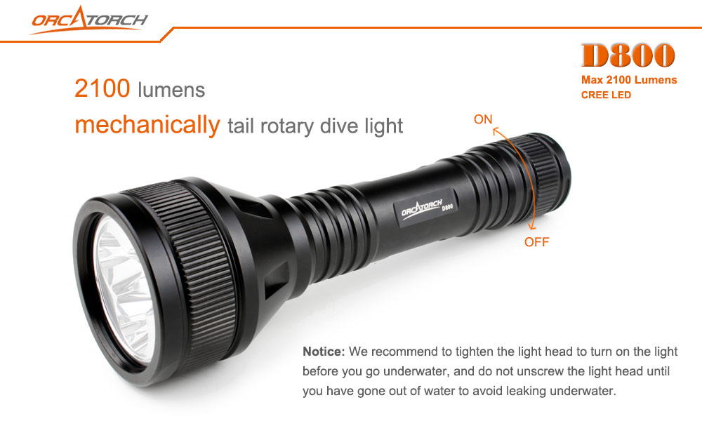 OrcaTorch D800 Dive Lights 2100 lumens