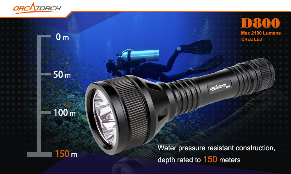 OrcaTorch D800 Dive Lights 150m Waterproof