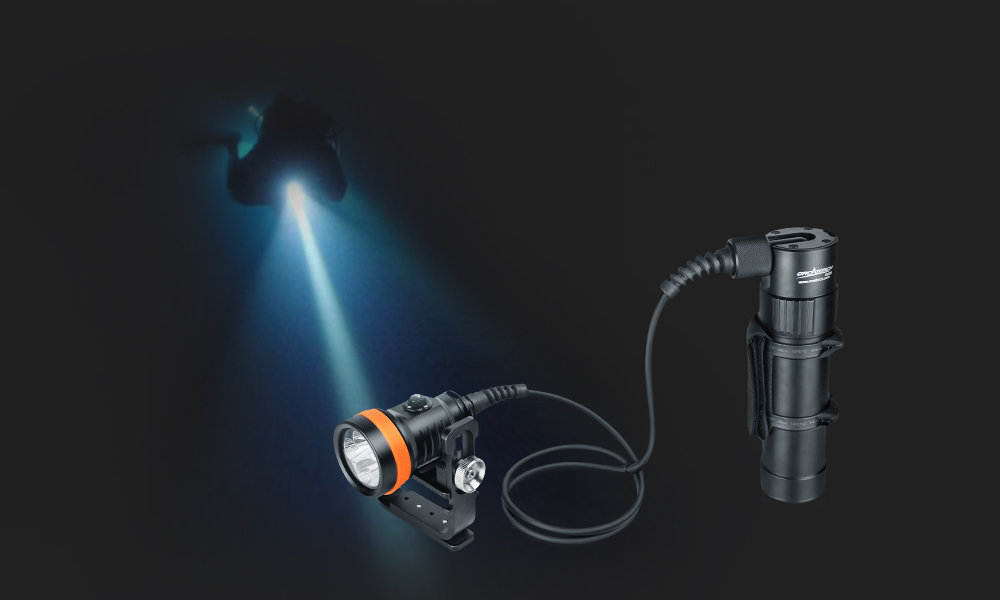 OrcaTorch D630 Canister Dive Light for back mount and side mount diving!