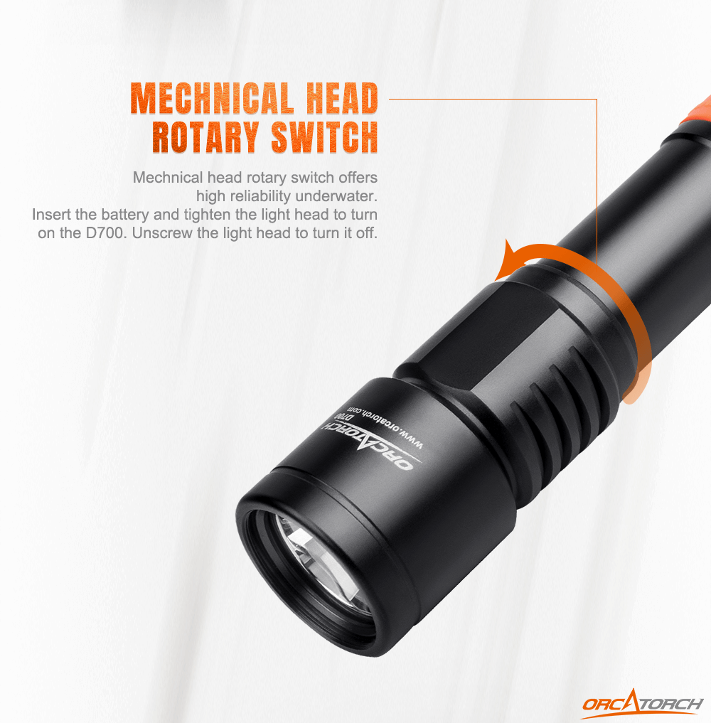 Orcatorch D700 Dive Light Mechanical Head Rotary Switch
